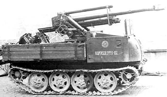 10.5 cm GebH 40 mountain howitzer on the back of a Raupenschlepper Ost (RSO/1)