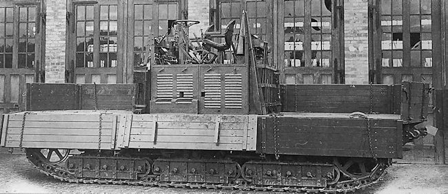 Geländewagen A7V at the factory with the cargo wooden panel sides in the down position