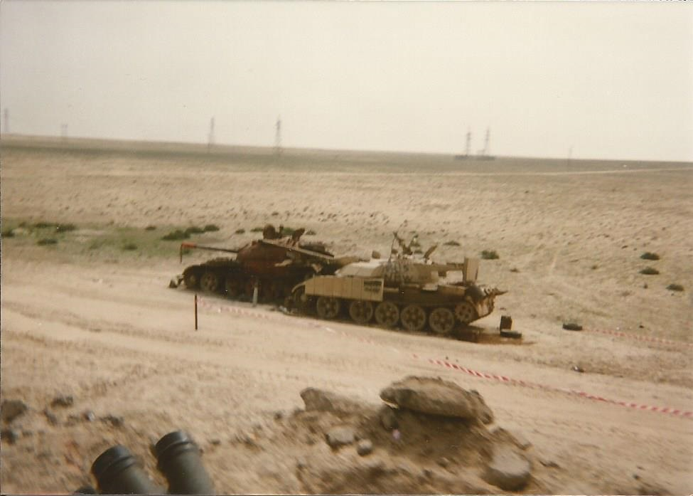 T-55 Enigma knocked out during the Battle of Khafji. It appears to have rammed into a Type 59