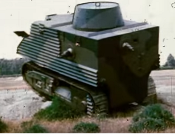 Semple Tank undergoing testing showing the roof of the turret.