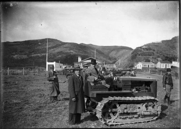 Robert Semple on a caterpillar tractor, between 1935-1940