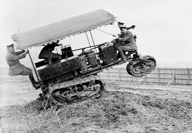 Killen-Strait Tractor negotiating slightly rough ground during experiments at Wormwood Scrubbs, June 1915