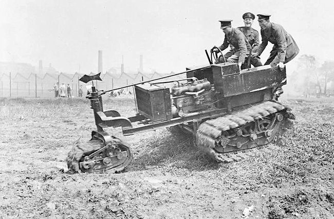 Experiments by the 20th Squadron R. N. A. S, with the Killen-Strait Tractor, at Wormwood Scrubbs, June 1915.
