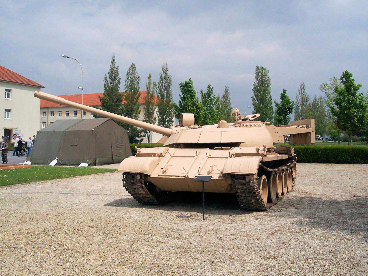 T-55 Enigma at Mourmelon-le-Grand, France. The glacis armor boxes are missing.