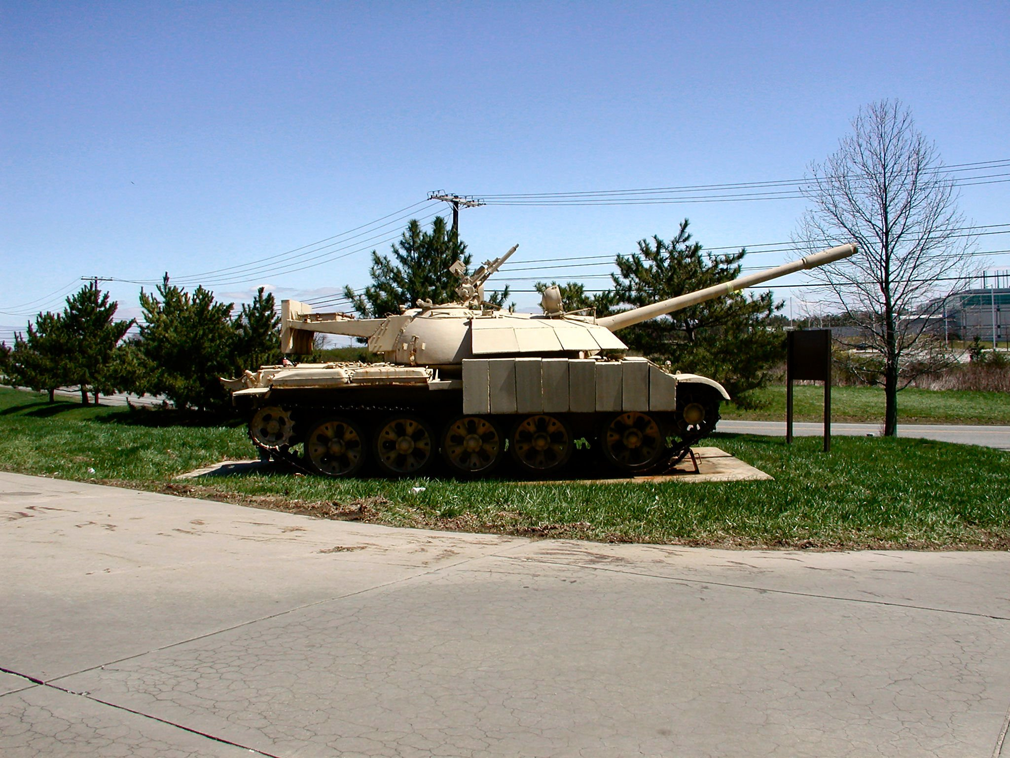 T-55 Enigma, serving as a gate guardian for the 203rd Military Intelligence Battalion, Aberdeen Proving Ground. The turret counterweight is clear in this image.