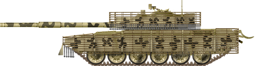 T-72 Mahmia, early type with chain armor.
