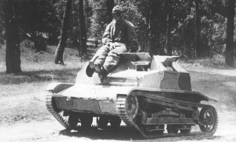 The only surviving photo of the TKS-B tankette.