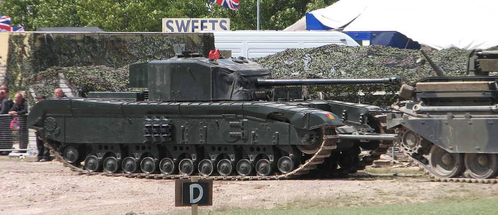 Bovington's running Black Prince being towed back into the Museum after its demonstration during Tank Fest