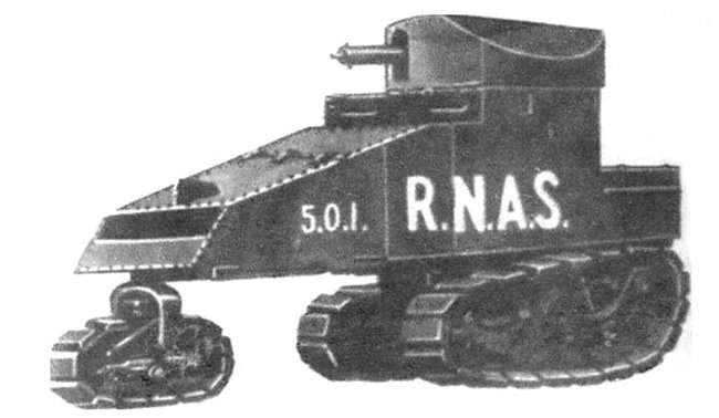 Artists impression of the fully tracked Killen-Strait armoured tracked vehicle with turret for the RNAS 501 Armoured Car Squadron.