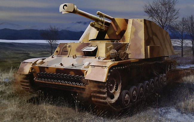 Hummel-Wespe artists impression of the SPG on the Eastern Front battlefield during 1945