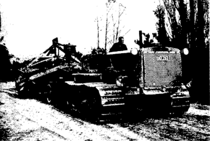 One of the PWD Caterpillar tractors working on a project at Lake Taupo, May 1941