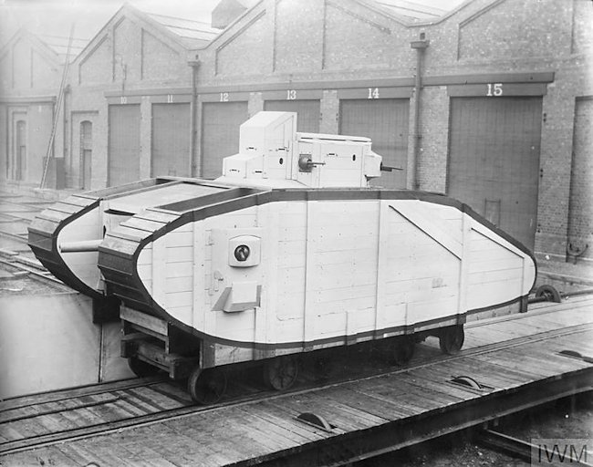Wooded mock-up of Mark VI tank. Designed after Battle of Arras, it was an improved Mark V with greater speed, lighter loading and more ease of control
