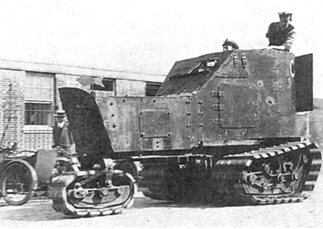 Delano-Belleville armoured car hull onto the Straits tractor chassis