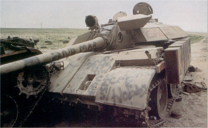 Closeup of a T-55 Enigma knocked out during the Battle of Khafji, which has rammed into a Type 59.