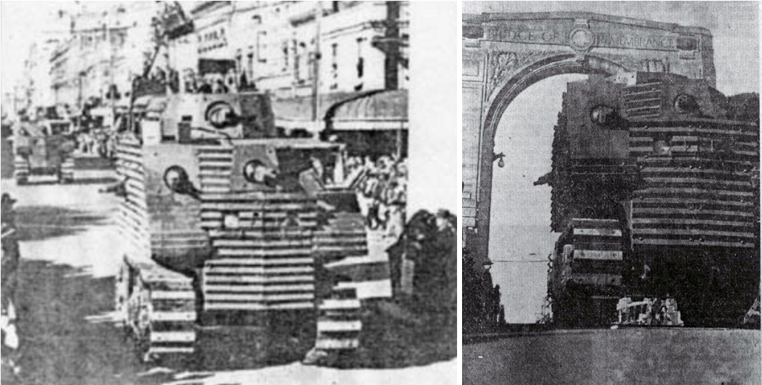 Two 'Bob Semple tanks on parade in Christchurch on the 26th of April 1941.