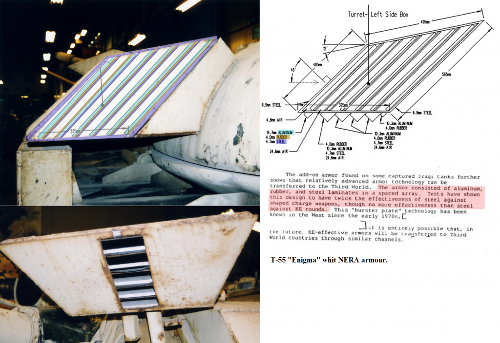 Diagram explaining the T-55 Enigma's composite armor