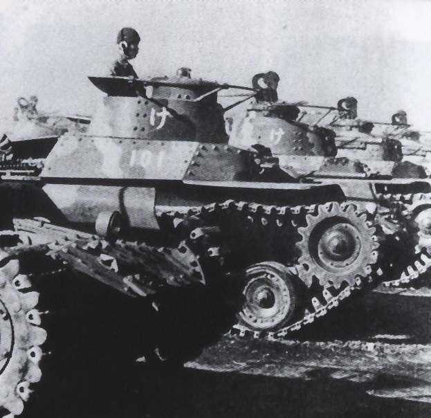 A Shi-Ki command tank amidst a company of Chi-Ha tanks.