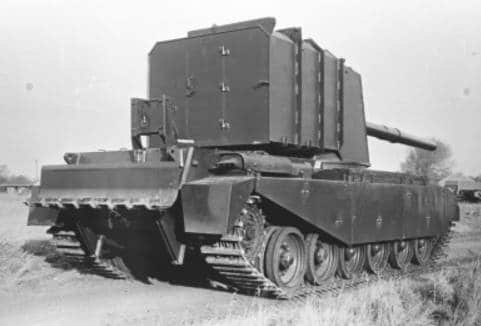 A rear view of the vehicle. Note the recoil spade and the box above it. This box holds the winch to raise and lower the spade - Photo: Ed Francis