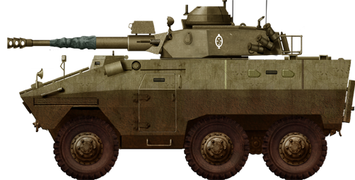 EE-11 Urutu fitted with the Cockerill MkIII 90 mm (3.54 in) gun in a large turret