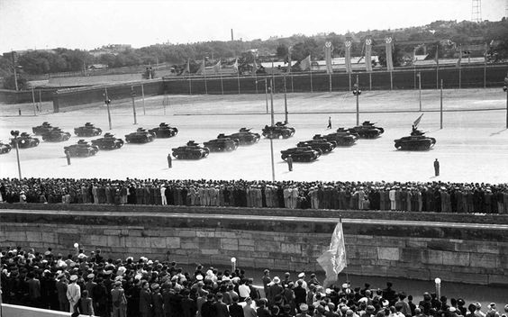 18 PLA Ha-Go tanks on parade in Tiananmen Square, 1st October 1949