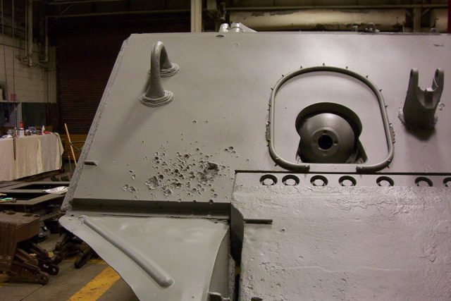 The splash damage left from the penetration of the final drive assembly - Picture: Don Moriarty