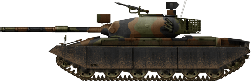 A Panzer 74 with the Variante D turret and Variante H hull, with a fixed rear pannier, in what-if camouflaged and with a thermal sleeve
