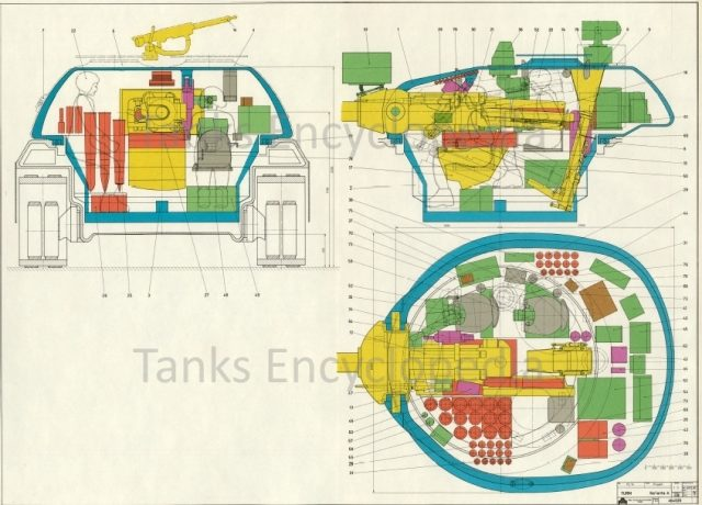 Schematic showing the Variante A turret with the internal layout and armor thickness.