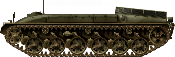 Early turret-less Panzer 58-based prototype with a engine raised exhaust and probably a new engine
