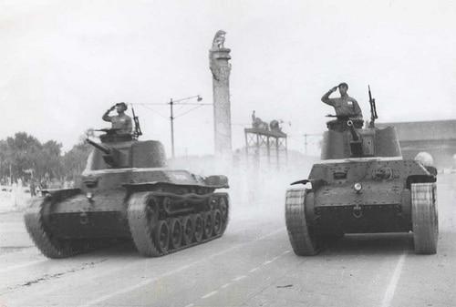 Pair of Chi-Ha Shinhoto tanks on parade, Tiananmen Square, 1st October 1949