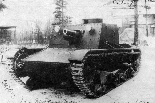 The SU-1 prototype, Notice the 76.2 mm (3 in) KT-28 gun in the hull, with the gun recuperator system exposed.
