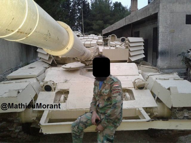 T-72AV Shafrah viewed from the front.