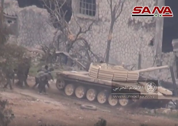 T-72AV Shafrah in combat at Qaboun, supported by infantry, on 24th March 2017