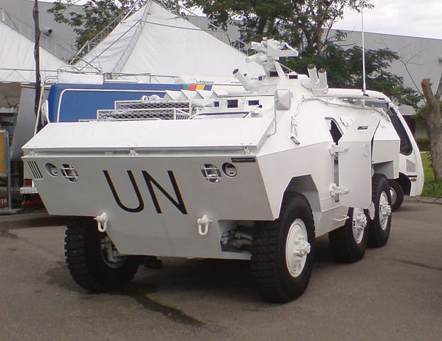 Brazilian Urutu in UN colors during the United Nations' Stabilisation Mission in Haiti in 2004