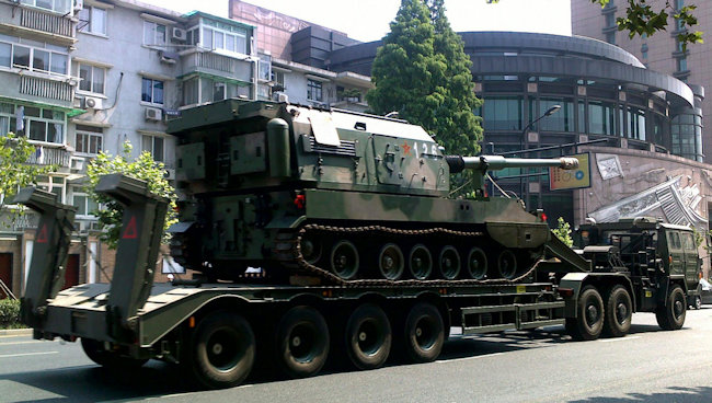 Chinese Army 155 mm PLZ-05 artillery self-propelled gun