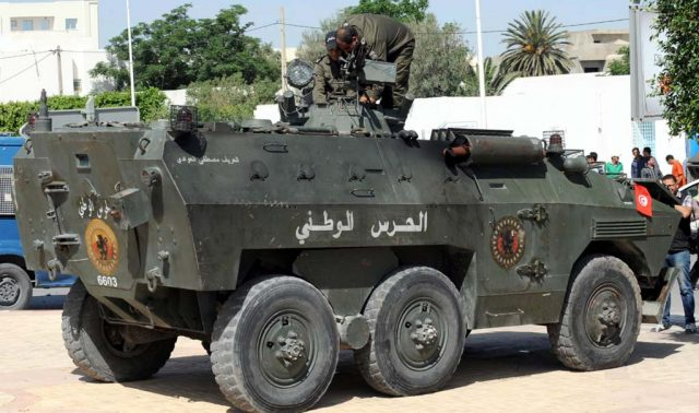 The rear of a Tunisian Urutu APC
