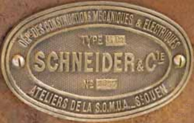 Tracteur Schneider CD brass makers plate