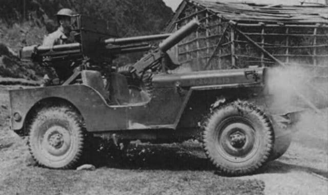 Early tests performed with an M3A1 mount on a standard Ford GP showed the vehicle could not take the recoil stess. The experiment was abandoned for a sturdier platform - Source: Weapons of Patton's armies, p.118