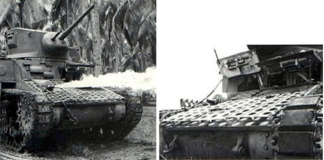 Stuart flamethrower tank in New Caledonia October 1943 with pierced aluminium matting on the glacis to protect against Japanese magnetic mines