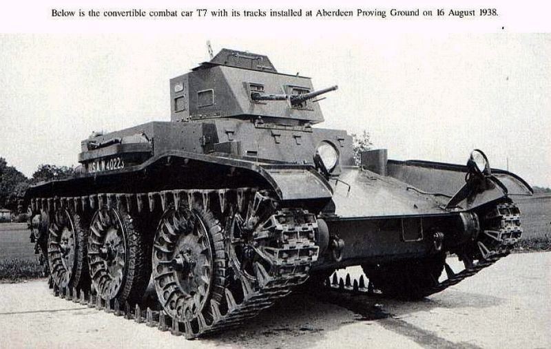 Convertible Combat Car T7. An early attempt in 1937-38 to develop a convertible tank in the idea first approached by Walter Christie in 1928-29.