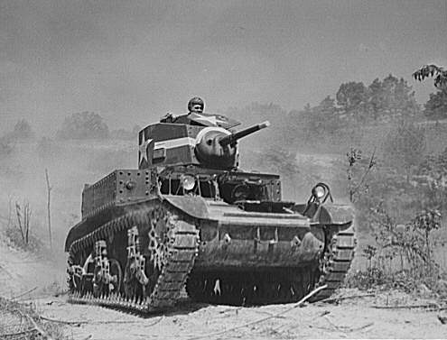M3 Stuart training at Fort Knox Kentucky. The M3 was the first truly mass-produced wartime American tank.