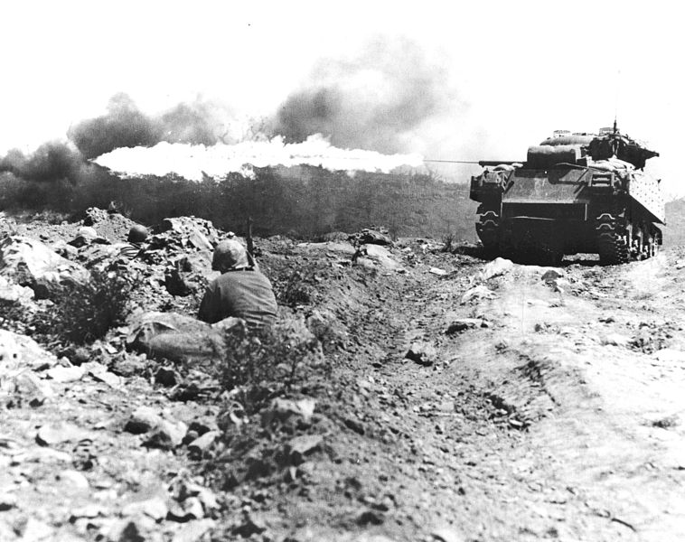 M4A3R3 Ronson flamethrower tank in Iwo Jima.