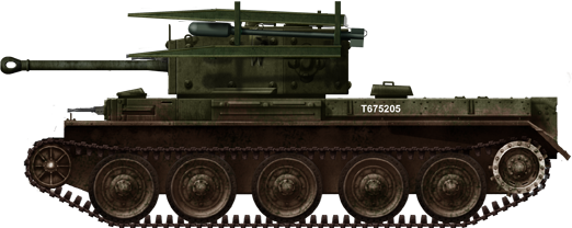 Cromwell tank fitted with 60 lb RP-3 (Rocket Projectile 3-inch) air to ground aircraft rocket launcher rails.