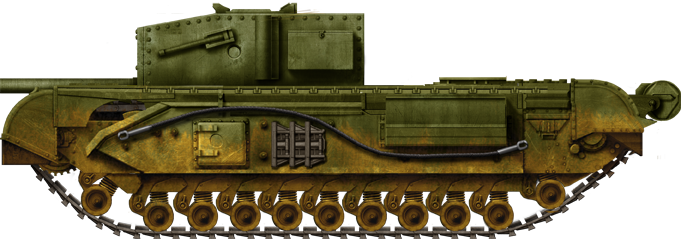 Churchill 3 inch Gun Carrier. This was the only SPG version of the Churchill, built in 1942, fitted with an antiquated 3 in (76.2 mm) AA gun.