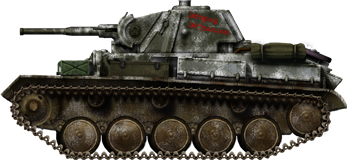 T-70 in winter paint with a patriotic slogan
