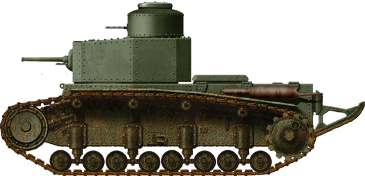 The T-12. Notice the eight-sided turret, the flat rear and the fact the tracks reach the top of the hull.