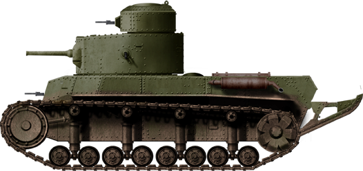 The T-24. Notice the rounded turret, the more elongated rear, the lower track height and the hull sponsons.