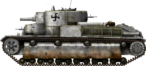 The comparatively rare T-28 infantry tanks were also heavily engaged in the Winter War.